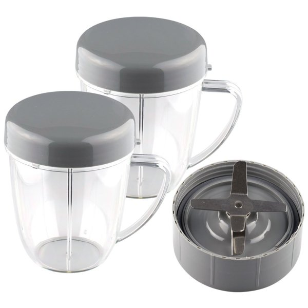 NutriBullet Extractor Blade + 2 18 oz Handled Short Cups with Re-Sealable Lids