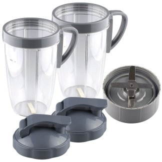 NutriBullet Extractor Blade + 2 24 oz Tall Cup with Handled Lip Ring and Flip To-Go Lids