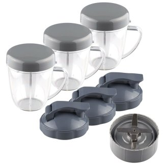 NutriBullet Extractor Blade + 3 18 oz Handled Short Cups with Re-Sealable Lids and Flip To-Go Lids