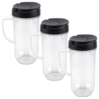 3 Pack 22 oz Tall Cup with Flip Top To-Go Lids Replacement Part for Magic Bullet 250W MB1001 Blenders