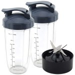 2 Pack 32 oz Colossal Cups with Flip To Go Lids + Extractor Blade for NutriBullet Lean NB-203 1200W Blender