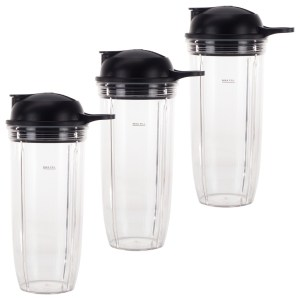 3 Pack 32 oz Cup and To-Go Lid Replacement Parts Compatible with NutriBullet Pro 1000, Combo and Select Blenders