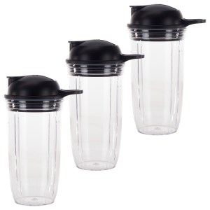 3 Pack 24 oz Cup and To-Go Lid Replacement Parts Compatible with NutriBullet Pro 1000, Combo and Select Blenders