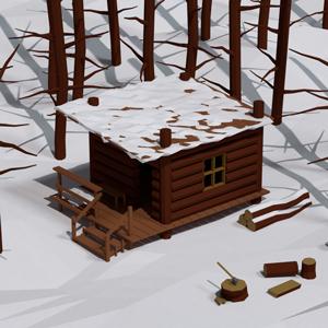 Low Poly Snow Cabin Scene – Blender Speedart