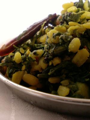 Thotakoora Pesarapappu Koora ~ Amaranth Leaves Moong Dal Stir Fry