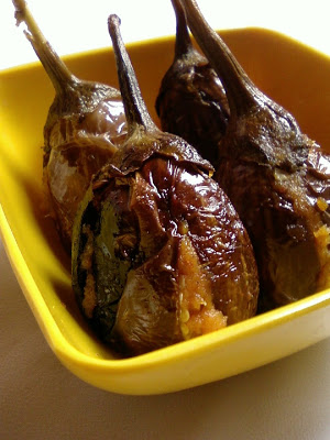Gutti Vankaya Ulli Karam ~ Stuffed Eggplant with Onion