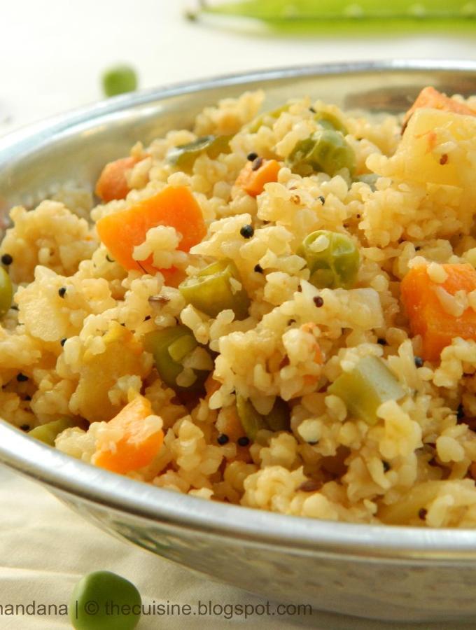 Mixed Vegetable Broken Wheat Upma Recipe