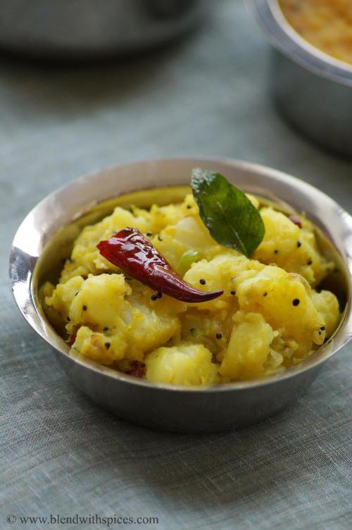 potato curry with ginger & green chillies, aloo allam pachimirchi koora recipe, easy potato curry