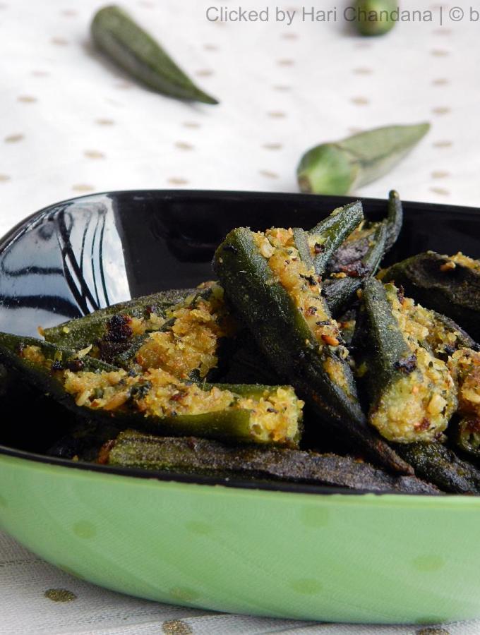 Bhinda Sambhariya ~ Gujarati Style Stuffed Okra Recipe