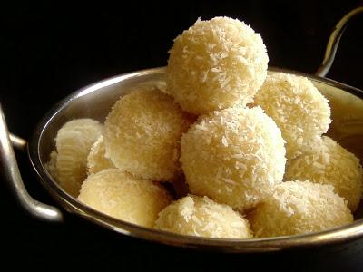 Dessicated Coconut Laddu with Condensed Milk ~ Quick Version