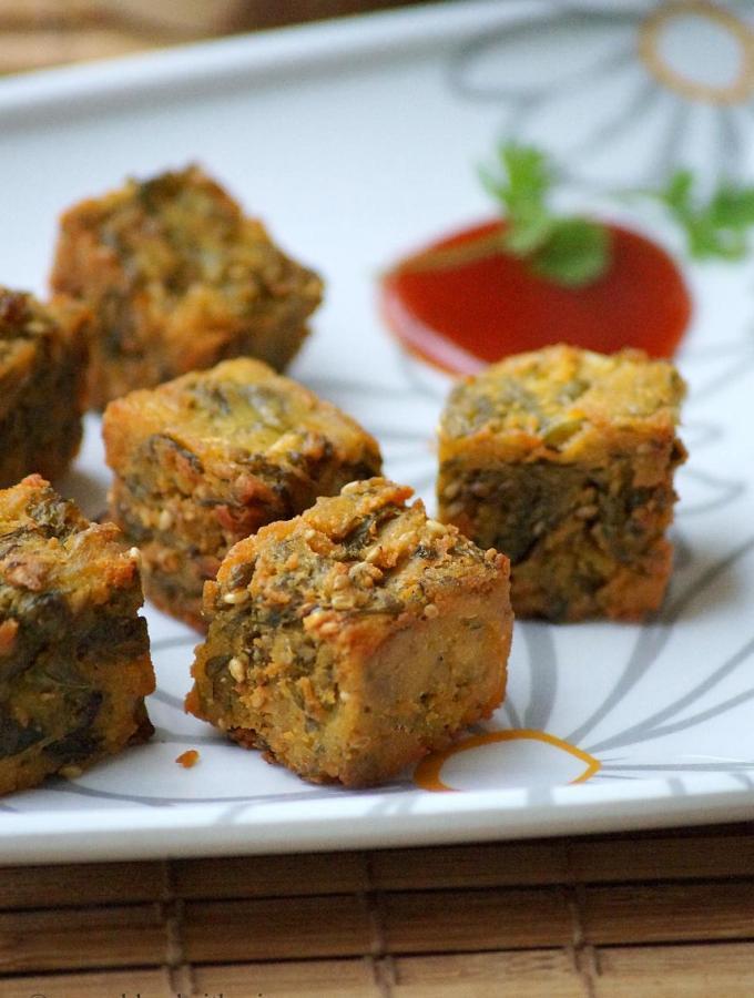 Maharashtrian Kothimbir Vadi Recipe ~ Crispy Coriander Fritters Recipe