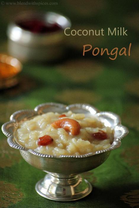 kobbari pala pongali recipe, how to make coconut milk pongal, naivedyam recipes