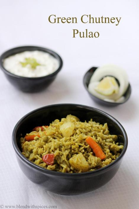 green chutney rice recipe, easy rice recipes, indian recipes