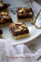 how to make khoya chocolate burfi recipe, easy chocolate burfi recipes