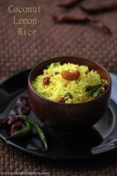 coconut lemon rice, kobbari nimmakaya pulihora