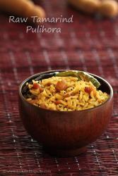 pulihora recipes, raw tamarind rice, chintakaya pulihora recipe