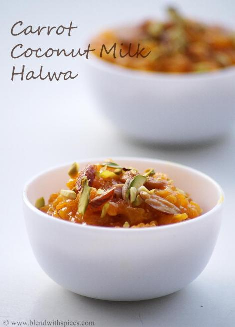 easy halwa recipes, carrot halwa recipe with coconut milk, holi recipes | blendwithspices.com