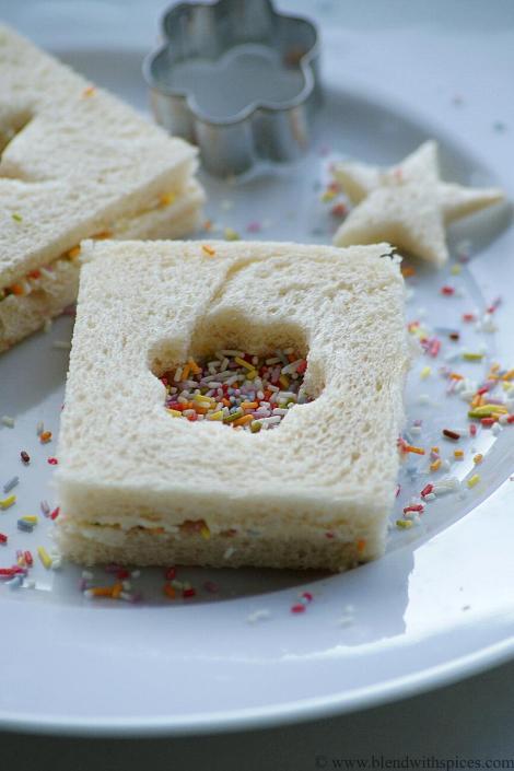sprinkle sandwich recipe, easy sandwich recipes for kids   blendwithspices.com