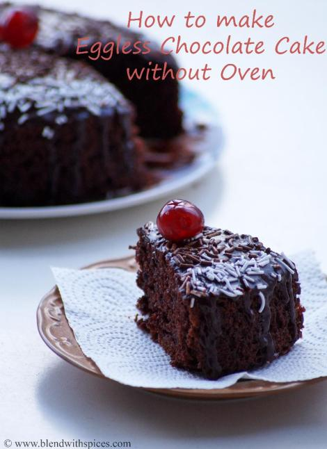 how to make eggless chocolate cake on gas stove, eggless cake recipe without oven | blendwithspices.com
