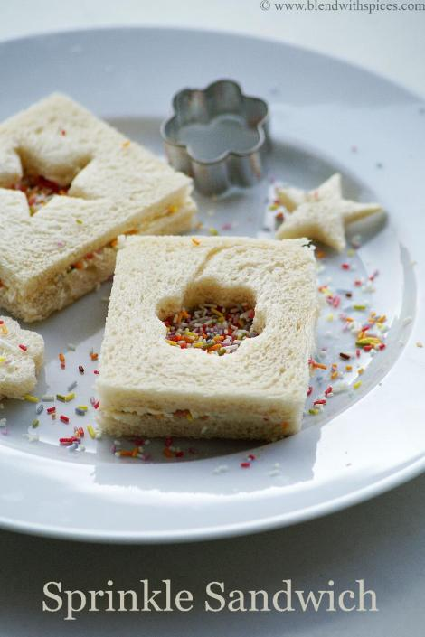 how to make sprinkle sandwich / fairy bread sandwich recipe   blendwithspices.com