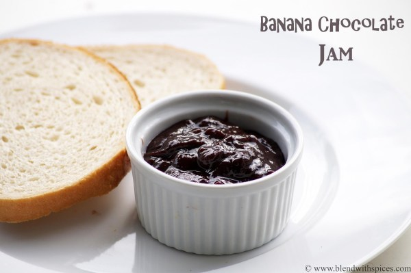 how to make homemade banana chocolate spread recipe, blendwithspices.com