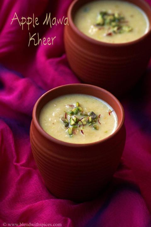 apple khoya kheer recipes, indian kheer recipes, holi sweets