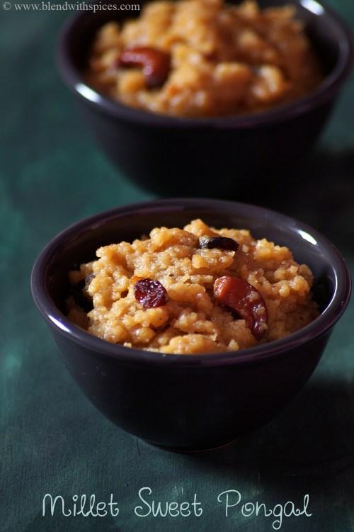 how to make millet sweet pongal recipe, millet recipes indian, kuthiraivali sakkarai pongal recipe