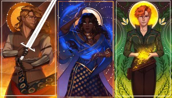Errant Kingdom - L-R top row; Lucien (they/them), Raiden (he/him), Livia (she/her)