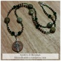 2015-02-23-Irish-Celtic-Coin-Cross-PrayerBeads-Czech-Glass-Unakite-Green-Jasper-1