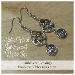Celtic Witch Earrings with Tiger's Eye