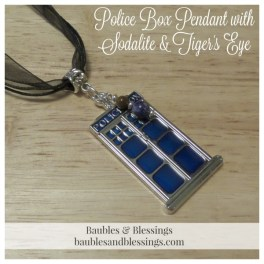 Doctor Who-Inspired Police Box Pendant with Sodalite & Tiger's Eye