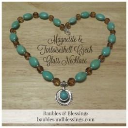 Magnesite & Tortoiseshell Czech Glass Necklace