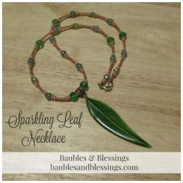 Sparkling Leaf Necklace with Aventurine, Copper & Glass Crystals