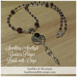 Sparkling AMethyst Goddess Prayer Beads with Onyx & Tree of Life