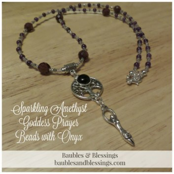 Sparkling AMethyst Goddess Prayer Beads with Onyx & Tree of Life