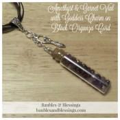 Amethyst & Garnet Vial with Goddess Charm on Black Organza Cord