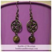 Bronze Pentagram Earrings with Tiger's Eye Cabochons