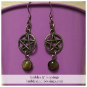 Bronze Pentagram Earrings with Tiger's Eye Cabochons
