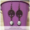 Bronze Tree of Life Earrings with Howlite Cabochons
