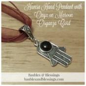 Hamsa Hand Pendant with Onyx on Maroon Organza Cord