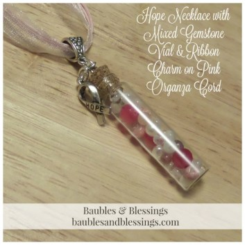 Hope Necklace with Mixed Gemstone Vial & Ribbon Charm on Pink Organza Cord