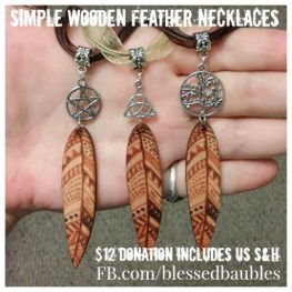 Simple Wooden Feather Necklaces