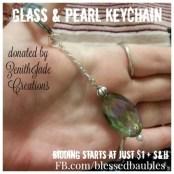 Glass & Pearl Keychain