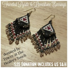 Faceted Pyrite & Lavastone Earrings by The Healer's Touch