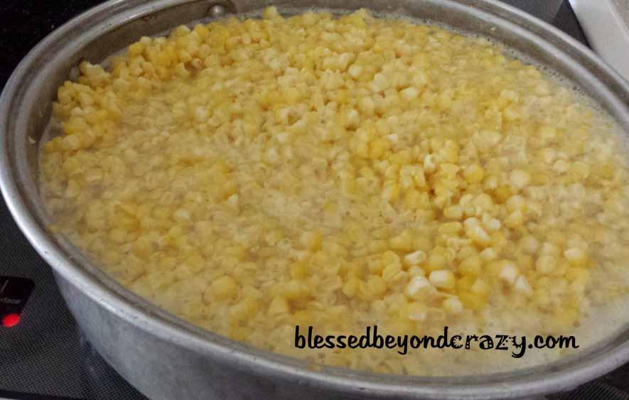 Blanching the corn.
