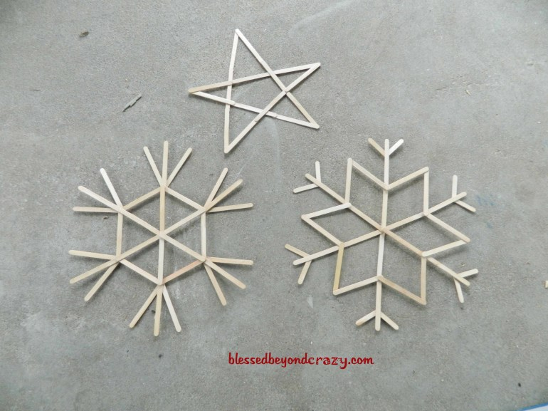 popsicle snowflake and star