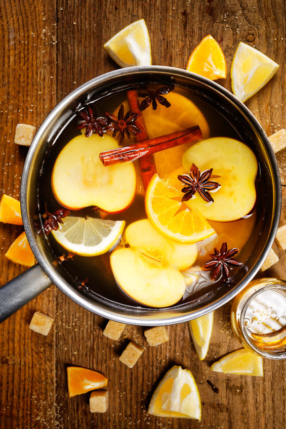mulled cider in a pot