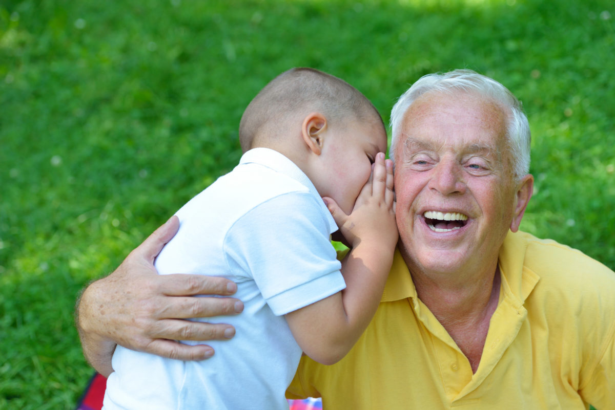 happy grandfather and child