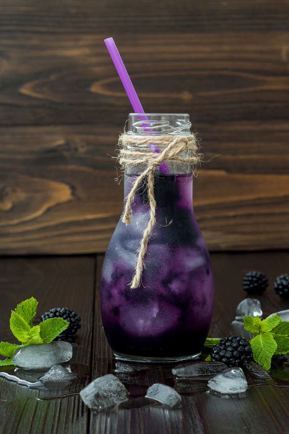 blackberry juice in vintage eco style bottle