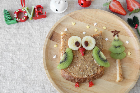 fun holidays owl toast with fruit, food art breakfast for kids